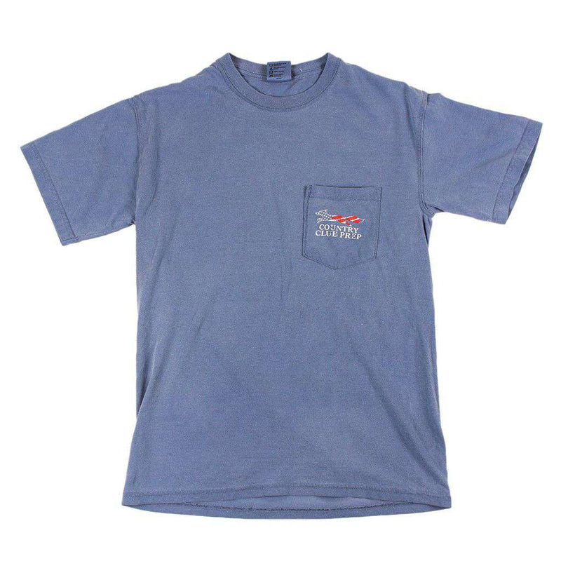 Faded Flag Longshanks Tee Shirt in Blue Jean by Country Club Prep