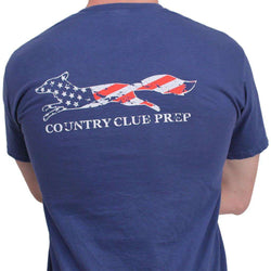 Men's Tee Shirts - Faded Flag Longshanks Tee Shirt In Soft Navy By Country Club Prep