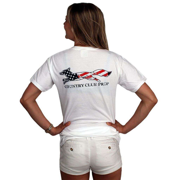 Faded Flag Longshanks Tee Shirt in White by Country Club Prep
