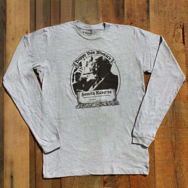 Men's Tee Shirts - Family Reserve Long Sleeve Tee In Grey By Pappy Van Winkle - FINAL SALE