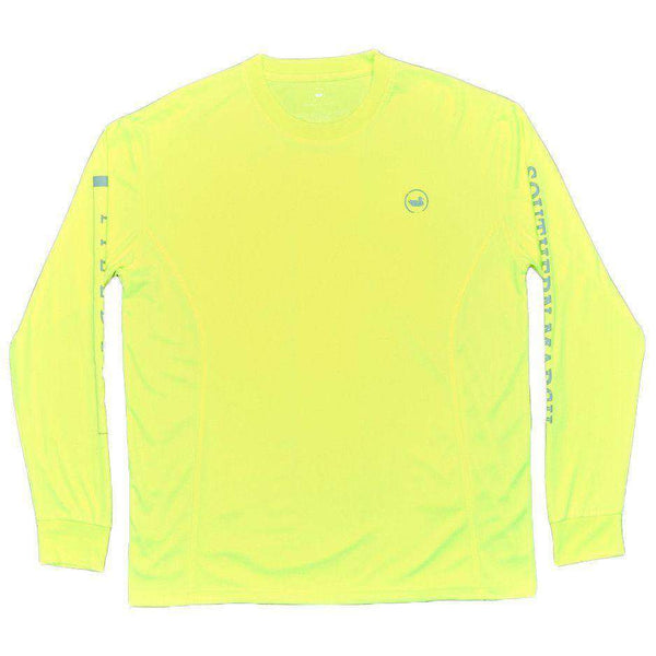 Men's Tee Shirts - FieldTec Fishing Tee - Long Sleeve In Neon Yellow By Southern Marsh