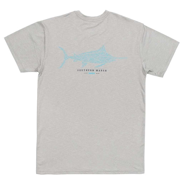 Men's Tee Shirts - FieldTec™ Heather Performance Tee - Marlin In Light Gray By Southern Marsh