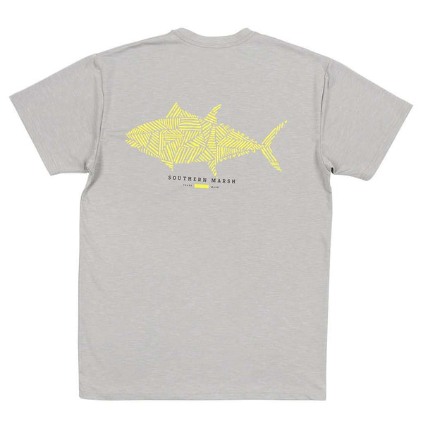 Men's Tee Shirts - FieldTec™ Heather Performance Tee - Tuna In Light Gray By Southern Marsh