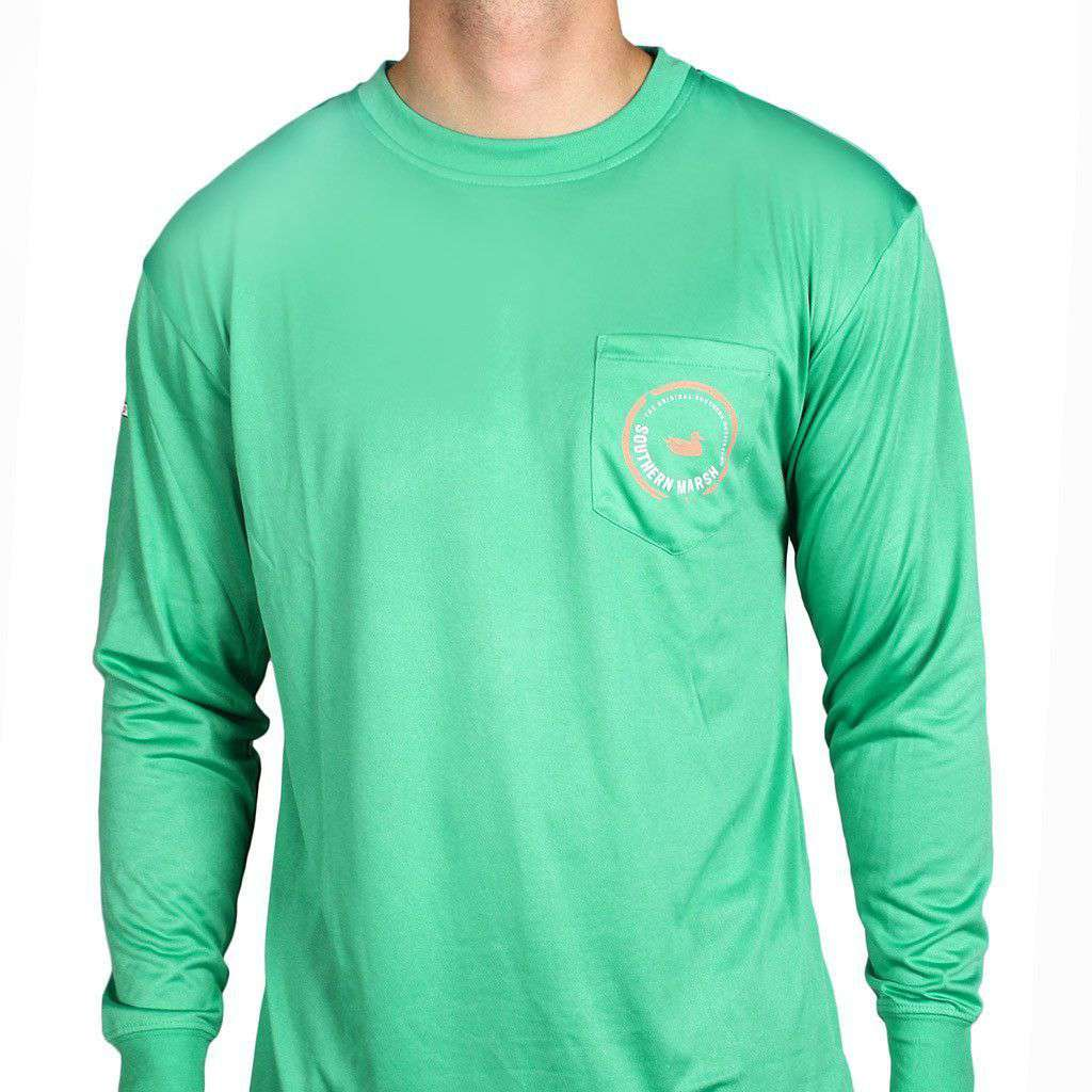 Men's Tee Shirts - FieldTec Pocket Tee - Long Sleeve In Bimini Green By Southern Marsh
