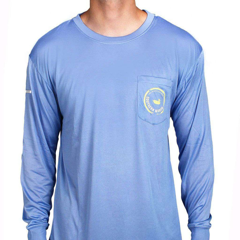Men's Tee Shirts - FieldTec Pocket Tee - Long Sleeve In Breaker Blue By Southern Marsh