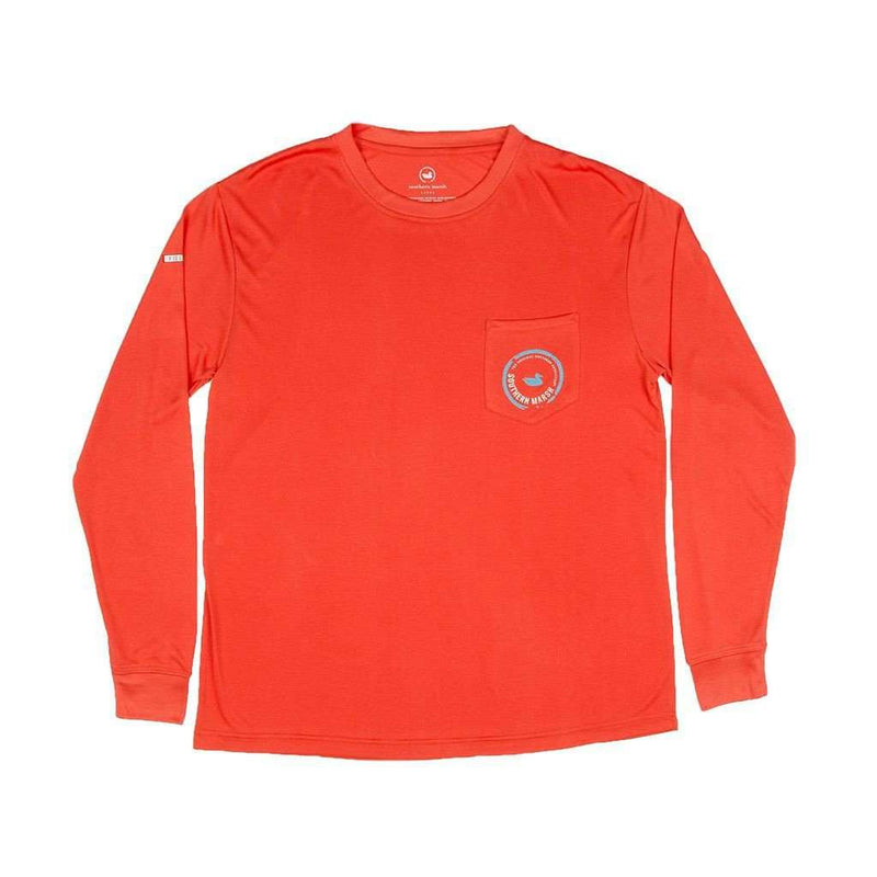 Men's Tee Shirts - FieldTec Pocket Tee - Long Sleeve In Coral Red By Southern Marsh