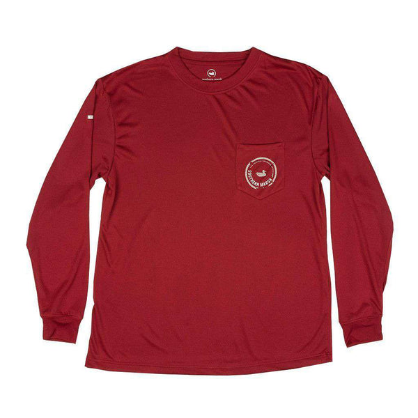 Men's Tee Shirts - FieldTec Pocket Tee - Long Sleeve In Crimson With Tan By Southern Marsh