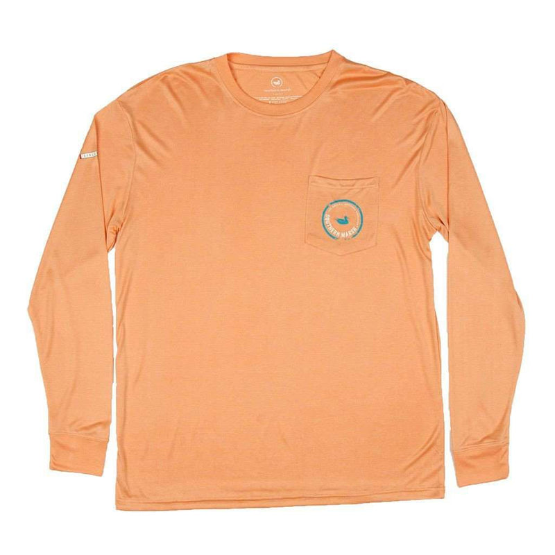 Men's Tee Shirts - FieldTec Pocket Tee - Long Sleeve In Melon Orange By Southern Marsh