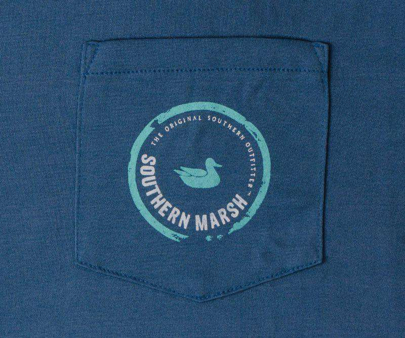 Men's Tee Shirts - FieldTec Pocket Tee - LONG SLEEVE In Slate With Aquamarine By Southern Marsh