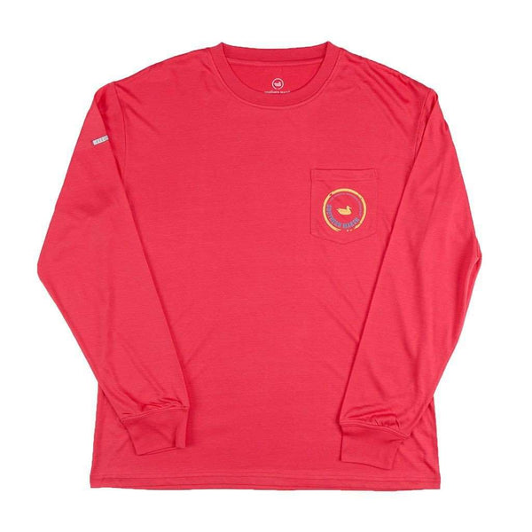 Men's Tee Shirts - FieldTec Pocket Tee - Long Sleeve In Strawberry Fizz By Southern Marsh