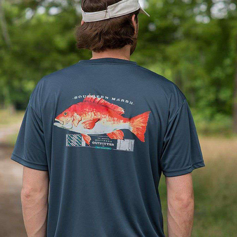 FieldTec Short Sleeve Snapper Tee in Slate with Aquamarine by Southern Marsh