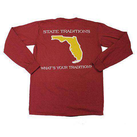 Men's Tee Shirts - FL Tallahassee Gameday Long Sleeve T-Shirt In Garnet By State Traditions