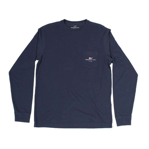 Flag Whale CC Prep Long Sleeve Tee Shirt in Blue Blazer by Vineyard Vines