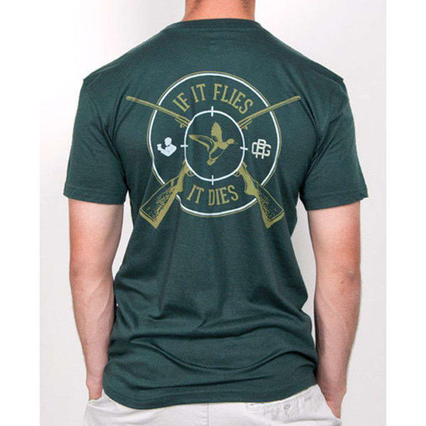 Men's Tee Shirts - Flies, It Dies Short Sleeve Pocket Tee Shirt In Green By Rowdy Gentleman - FINAL SALE