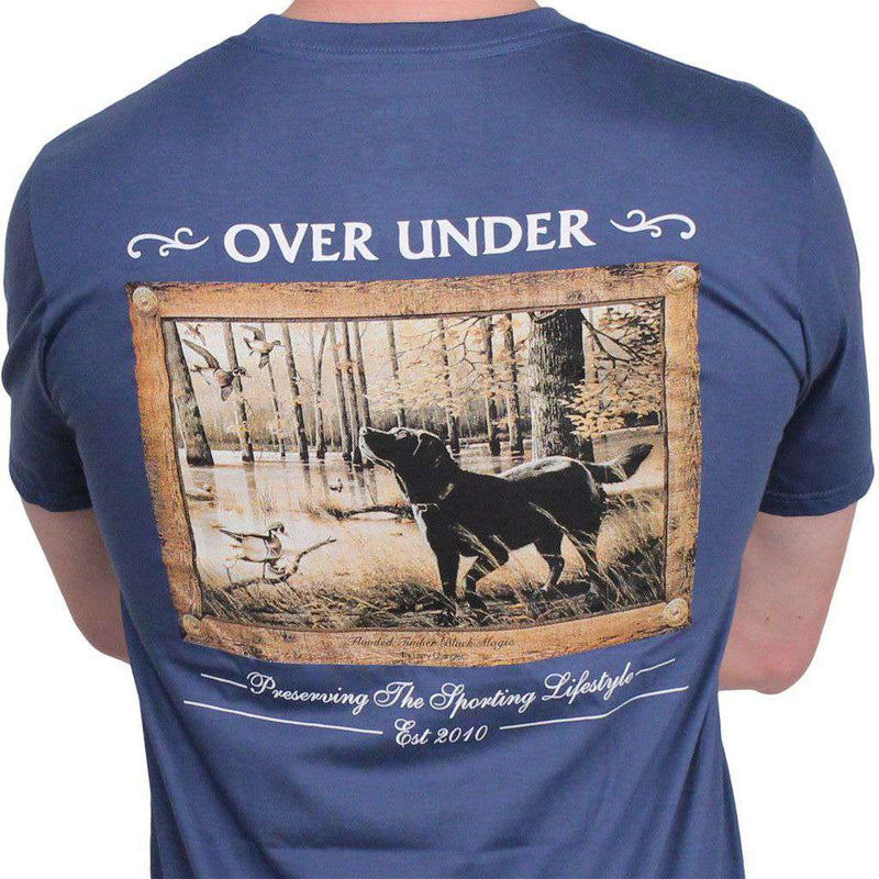 Men's Tee Shirts - Flooded Timber Black Magic Tee In Marina Blue By Over Under Clothing