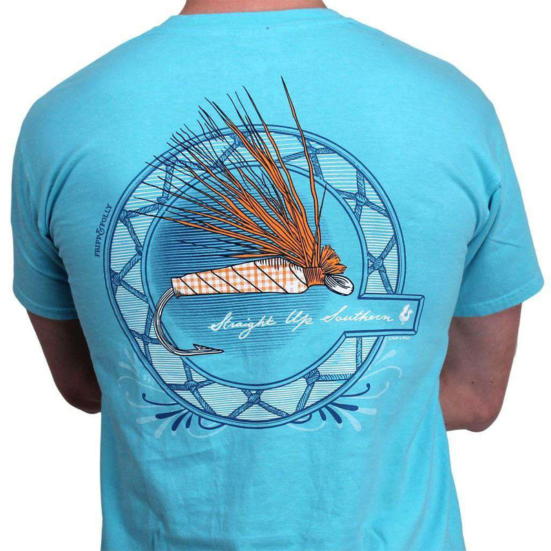 Men's Tee Shirts - Fly Lure Tee In Lagoon Blue By Fripp & Folly