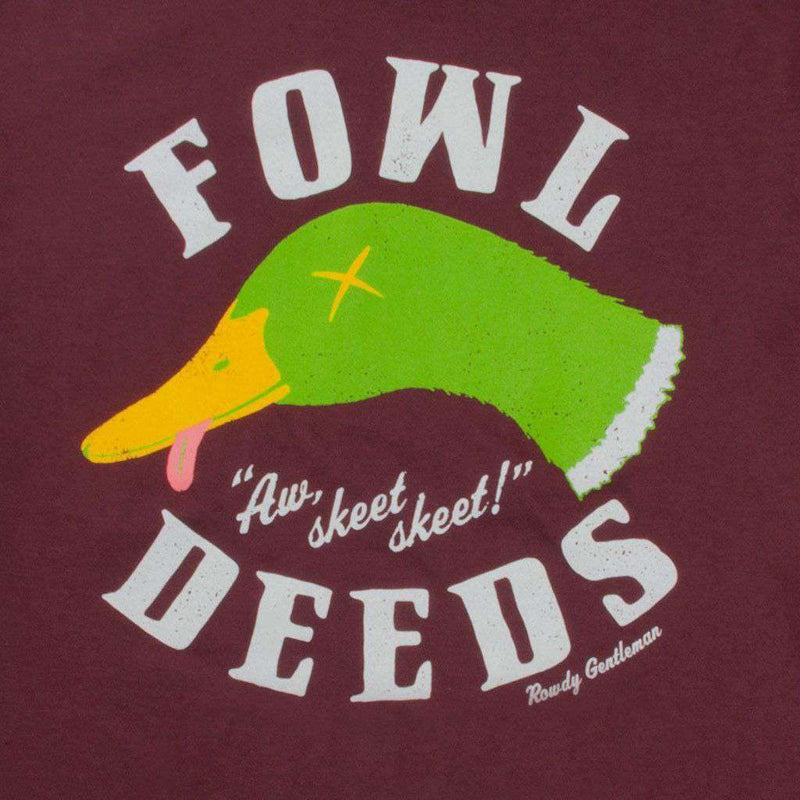 Fowl Deeds Long Sleeve Pocket Tee Shirt in Oxblood by Rowdy Gentleman