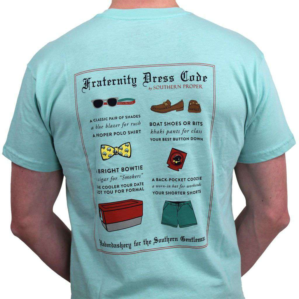 Men's Tee Shirts - Fraternity Dress Code Tee In Aqua By Southern Proper - FINAL SALE