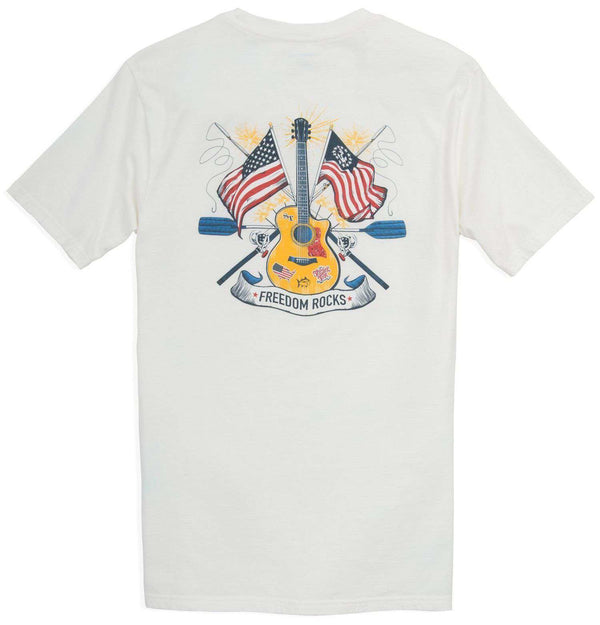 Men's Tee Shirts - Freedom Rocks T-Shirt In Classic White By Southern Tide - FINAL SALE