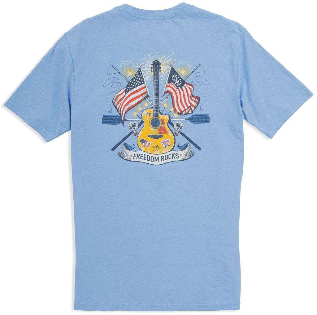 Southern tide freedom rocks t shirt in ocean channel blue for Southern marsh dress shirts on sale