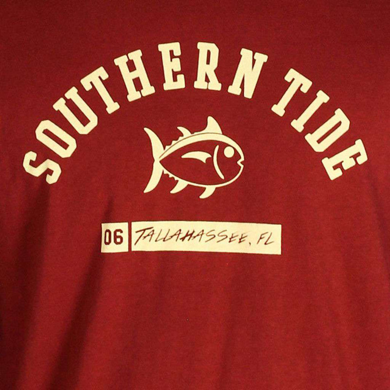 Men's Tee Shirts - FSU Long Sleeve Campus Tee In Garnet By Southern Tide
