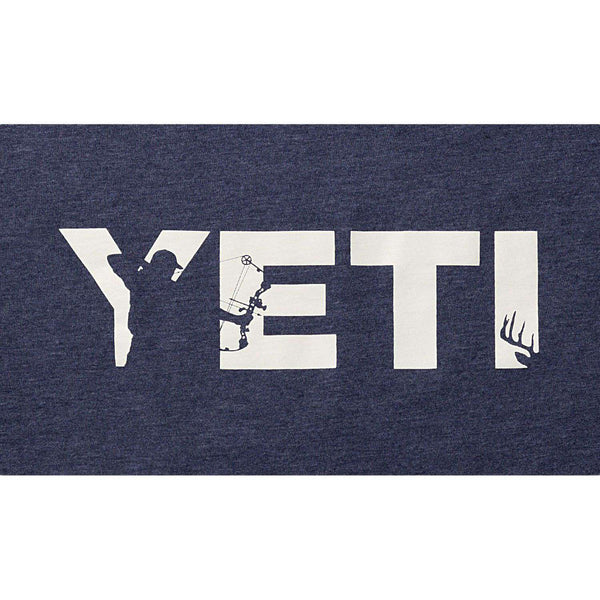 Men's Tee Shirts - Full Draw Hunter Tee In Heather Navy By YETI