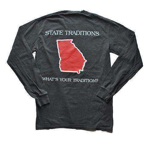 Men's Tee Shirts - GA Athens Gameday Long Sleeve T-Shirt In Pepper Grey By State Traditions