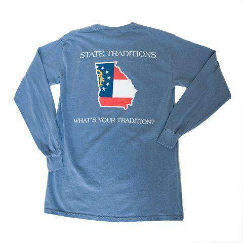 Men's Tee Shirts - GA Traditional Long Sleeve T-Shirt In Blue By State Traditions