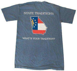 Men's Tee Shirts - GA Traditional T-Shirt In Slate Blue By State Traditions