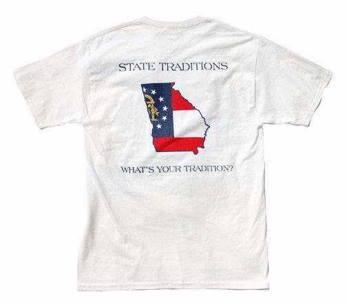 Men's Tee Shirts - GA Traditional T-Shirt In White By State Traditions