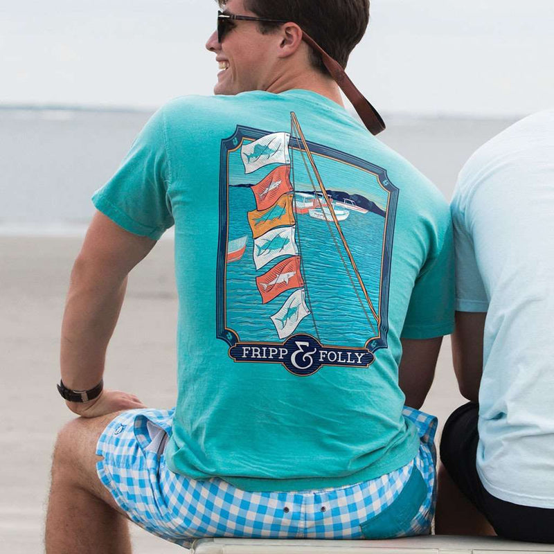 Game Release Flags Tee in Lagoon Blue by Fripp & Folly