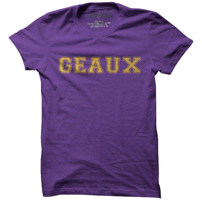 Men's Tee Shirts - Geaux Tee In Purple By One 10 Threads - FINAL SALE