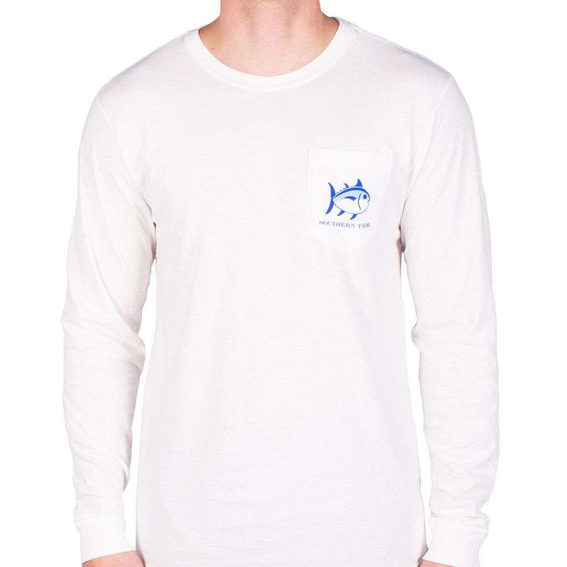 Men's Tee Shirts - Georgia Long Sleeve State Tee Shirt In White By Southern Tide