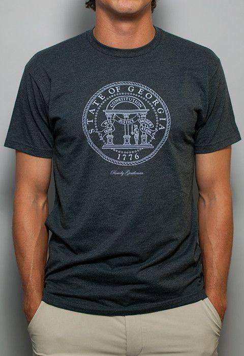Men's Tee Shirts - Georgia State Pride Vintage Tee In Faded Grey By Rowdy Gentleman - FINAL SALE