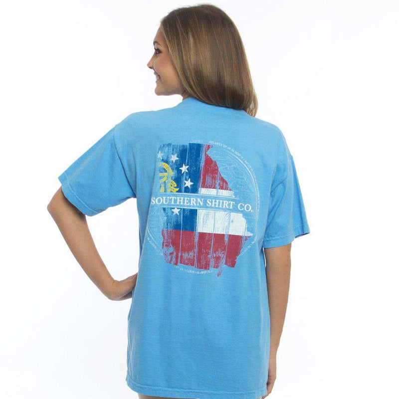 Men's Tee Shirts - Georgia Wooden State Tee Shirt In Bonnie Blue By The Southern Shirt Co.