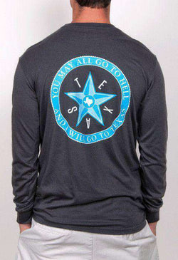 Men's Tee Shirts - Go To Texas Seal Long Sleeve Pocket Tee In Smoke By Rowdy Gentleman