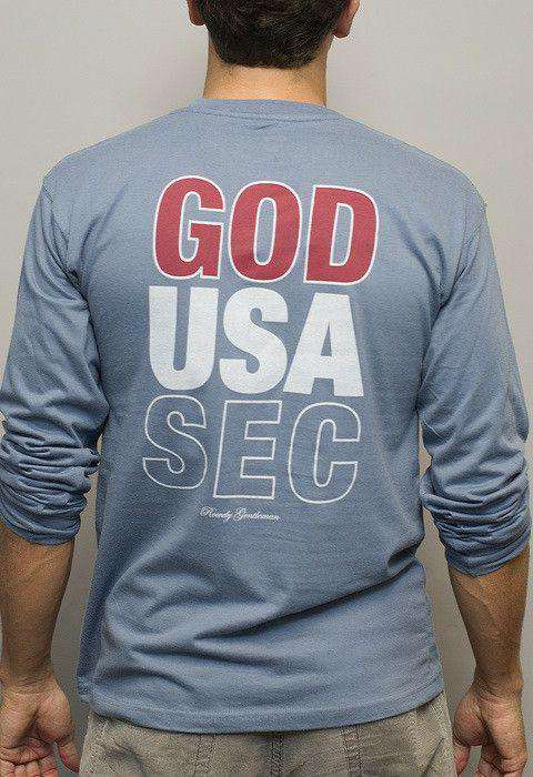 Men's Tee Shirts - God, USA, SEC Long Sleeve Tee In Weathered Blue By Rowdy Gentleman