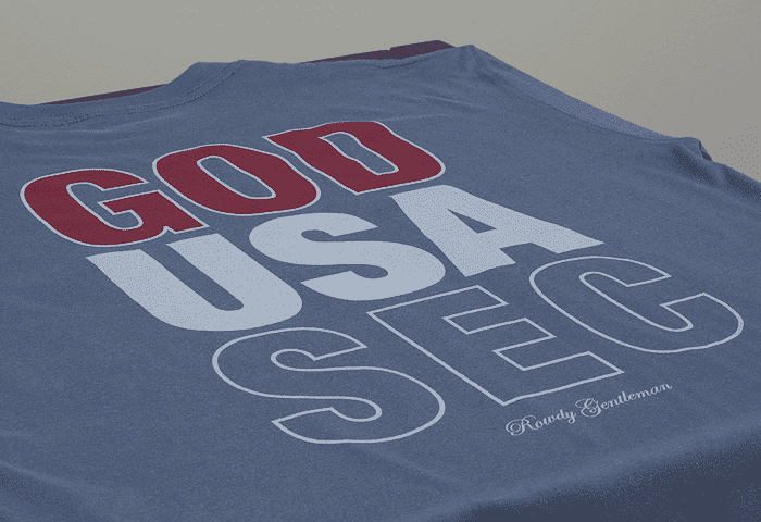 God, USA, SEC Tee in Weathered Blue by Rowdy Gentleman - FINAL SALE