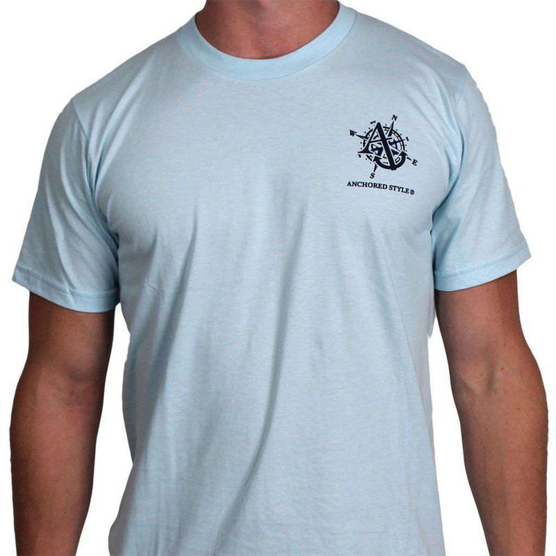 Men's Tee Shirts - Going Coastal Tee In Light Blue By Anchored Style - FINAL SALE