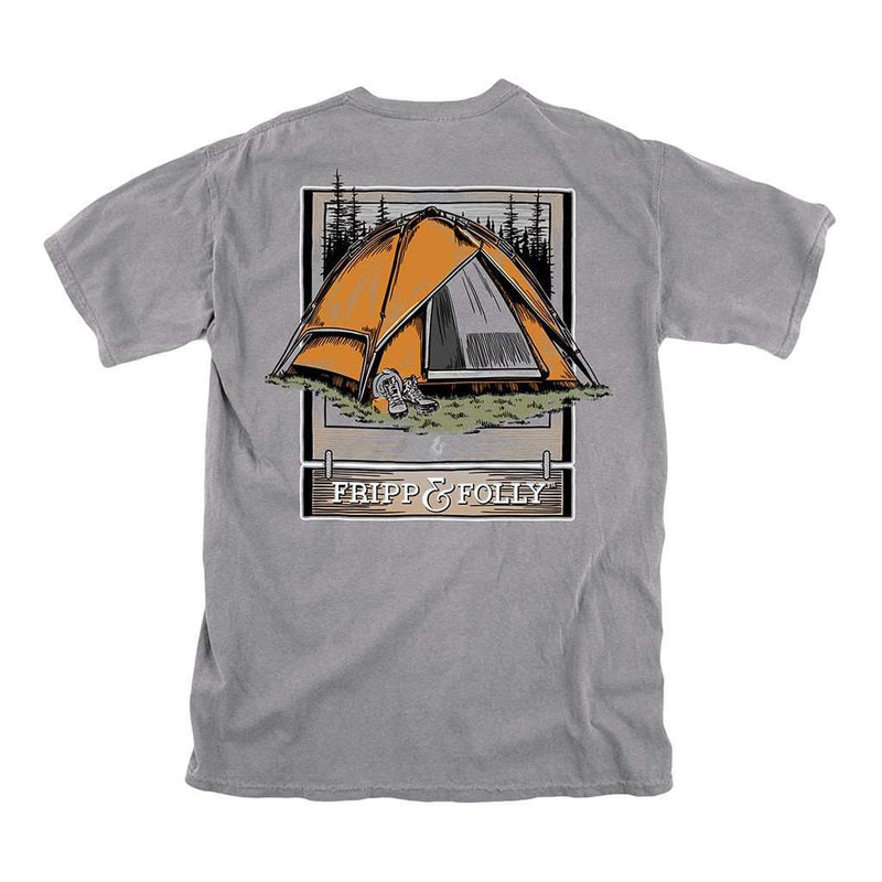 Men's Tee Shirts - Gone Camping Tee In Granite By Fripp & Folly