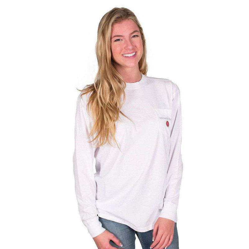 Grand Old Party Time Bottle Cap Flag Long Sleeve Tee in White by Southern Proper