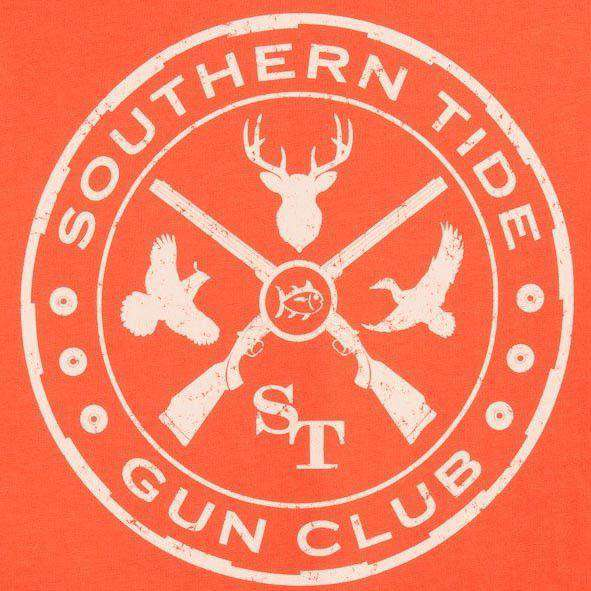 Gun Club Long Sleeve Tee Shirt in Orange Sky by Southern Tide
