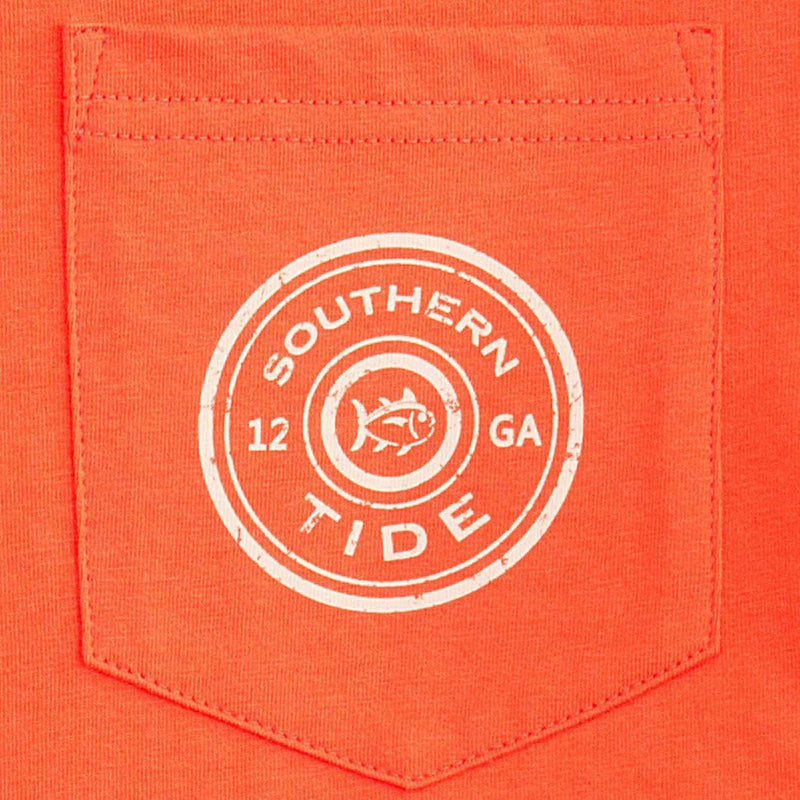 Men's Tee Shirts - Gun Club Long Sleeve Tee Shirt In Orange Sky By Southern Tide