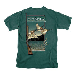 Men's Tee Shirts - Gun With Mallards Tee In Blue Spruce By Fripp & Folly