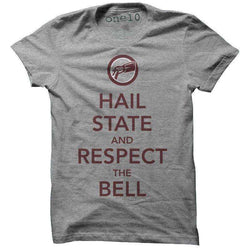 Men's Tee Shirts - Hail State & Respect The Bell Tee In Grey By One 10 Threads - FINAL SALE