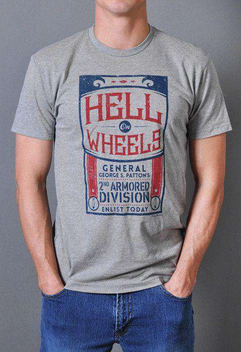 Men's Tee Shirts - Hell On Wheels Vintage Tee In Dark Heather Gray By Rowdy Gentleman - FINAL SALE