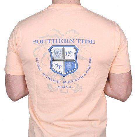 Men's Tee Shirts - Heritage Crest Tee In Reef Pink By Southern Tide