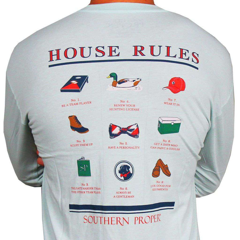 Men's Tee Shirts - House Rules Long Sleeve Tee In Aqua By Southern Proper