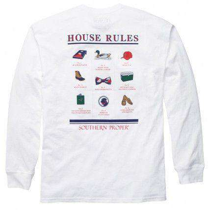 Men's Tee Shirts - House Rules Long Sleeve Tee In White By Southern Proper