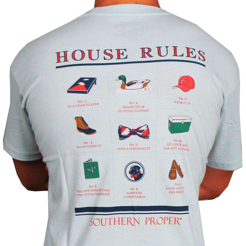 Men's Tee Shirts - House Rules Tee In Aqua By Southern Proper
